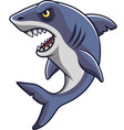 cartoon angry shark mascot vector image vector image