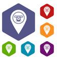 Cash terminal pointer icons set hexagon