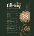 Coffee menu with price list and cup of hot coffee