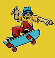 cool guy enjoying skateboard vector image vector image