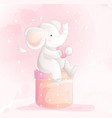 cute baby elephant watercolor style vector image