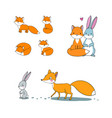 cute cartoon fox and hare fairy tale characters vector image