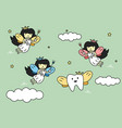 cute colorful tooth fairy flying with teeth vector image vector image