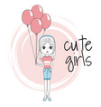 cute girl with balloons vector image vector image