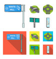 direction signs and other web icon in cartoonflat vector image vector image