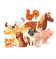 farm animals posing together vector image vector image