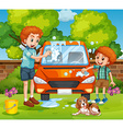 Father and son washing car in the backyard vector image vector image