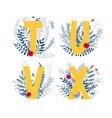 floral alphabet letter t u v x set vector image
