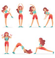 funny pretty woman exercising various different vector image