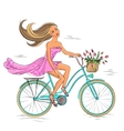 girl on bike isolated on white vector image