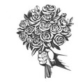hand gives a bouquet roses greeting card vector image