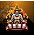 hanoman esport mascot logo design vector image vector image