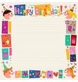 Happy Birthday kids decorative border vector image vector image