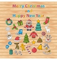 Happy New Year and Merry Christmas sticker set vector image