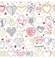 Hearts hand drawing doodlesSeamless pattern vector image vector image