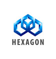 hexagon three dimensional style logo concept vector image vector image