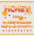 honey latin font design sweet abc letters and vector image