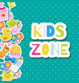 kids zone banner colorful border frame background vector image