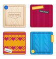 knitted patterns realistic samples set vector image vector image