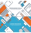 Lined programmingcoding Outline Flat computing vector image vector image