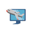 monitor computer with airplane travel vector image vector image