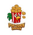pop corn chicken logo vector image vector image
