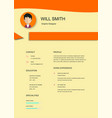 resume template cv creative background imag vector image vector image