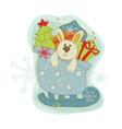 retro christmas bunny card vector image vector image