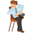 Retro hipster man with brown hair sitting on the vector image vector image