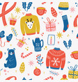 seamless pattern with new year and christmas vector image vector image