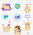 set of cute cat in life situations isolated clip vector image vector image