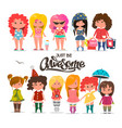 set of different cute girls beautiful princess vector image