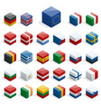 set of isometric boxes with flags simple vector image vector image