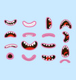 smiling cartoon set and vector image