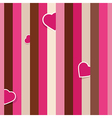Striped pink seamless background pattern with hear vector image vector image