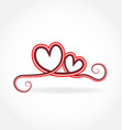swirly love hearts isolated vector image vector image