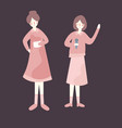 two female woman performing at tage holding vector image vector image