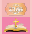 We are greeting married cross and bible invitation