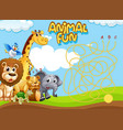 wild animal maze puzzle game template vector image vector image