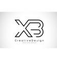 xb x b letter logo design in black colors vector image vector image