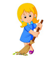 young girl sweeping vector image