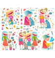 cute girlfriends girlish cartoon colorful vector image
