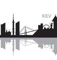 Kiev City skyline black and white silhouette vector image