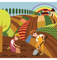 Rural landscape and farmers vector image
