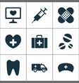 antibiotic icons set collection of injection vector image vector image