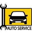 autoservice sign with car and wrench vector image