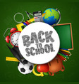 back to school banner with school supplies vector image vector image