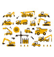 big set icons construction work building vector image