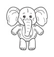 black and white a funny cartoon elephant on vector image vector image