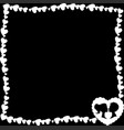 black and white retro frame of hearts with vector image vector image